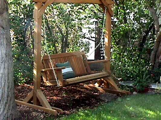 wooden outdoor porch swing 2